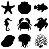 Set of 9 black silhouettes of sea animals