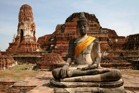 Постер, плакат: Monuments of buddah ruins of Ayutthaya, холст на подрамнике