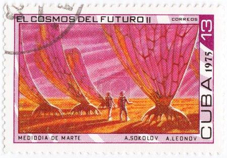 Постер, плакат: Stronauts explorer alien planet, холст на подрамнике