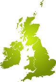Zelená mapa Velké Británie