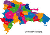Map of Dominican Republic with the provinces colored in bright colors