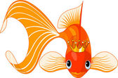 Illustration of a happy beautiful goldfish with tiara