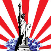 Vector image of American symbols of freedom Statue of Liberty on the background of a stylized flag United States