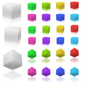 Vector set of 3D color cubes isolated on white background