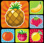 Colorful fruity icons set isolated on black background