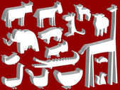 Animal figurines over red background abstract vector art illustration