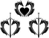 Set of hearts of dragons stencil vector illustration