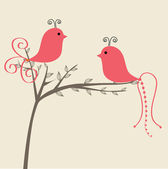 Abstract birds couple Vintage vector illustration Birds couple in love