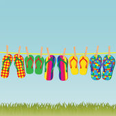 Colorful flip-flops on a rope - an illustration for your design project