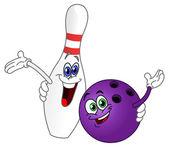 Cartoon bowling ball and pin