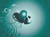 Green heart floral background wallpaper