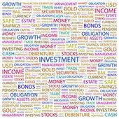 Investice. slovo koláž na bílém pozadí