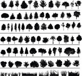 Set of silhouettes of trees bushes and grass