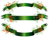 Green floral banner set against the white background
