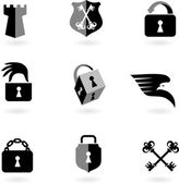 Collection of black and white security icons and logos