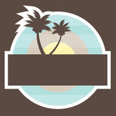 Tropical Beach Banner with two palm vector illustration