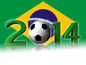 2014 soccer logo with brazil flag