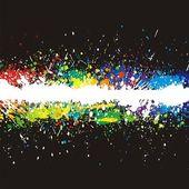 Illustration of line color paint splashes on black background