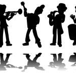 Постер, плакат: Music kids silhouettes collection