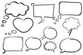 Collection of hand drawn comic book style vector chat bubbles