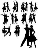 Vector illustration of couple dancing set