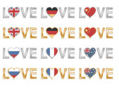 Gold and silver love flags great britain germany china russia france and australia