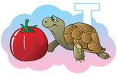 Series of Children alphabet: letter T turtle and tomato cartoon vector illustration