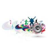 Silhouette of young having fun with music theme background vector illustration