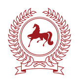 Coat of arms featuring a horse It consists of a wreath and the silhouette of the horse Coat of arms located on a white background