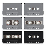 Composition of the six audio cassettes Cassettes have a different design They are located on a white background