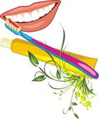 Asszonyos mosoly, fogkefével és beillesztés