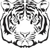 Tiger head silhouette Vector illustration isolated on white background