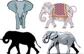 Vector Illustration of 4 different styles of Elephants