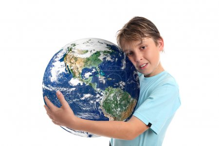 Постер, плакат: Love and care for world planet earth, холст на подрамнике