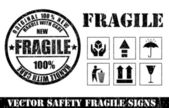 Fragile signs and stamp. Vector