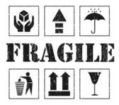 Safety fragile grey signs. Vector