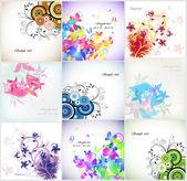 Set Romantic flower Floral background Vector illustration