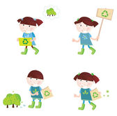 Four cute children with recycle symbols Vector cartoon illustration