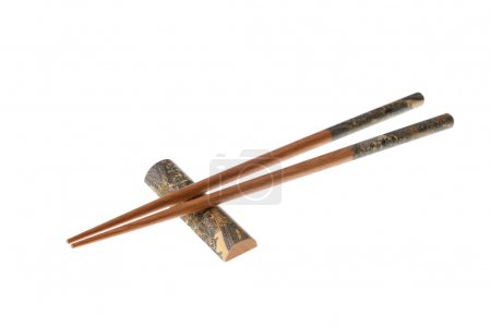 Wooden chopsticks with ornamentation
