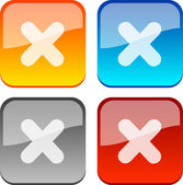 Cancel glossy buttons Vector illustration