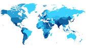 Modrý svět mapa se zeměmi