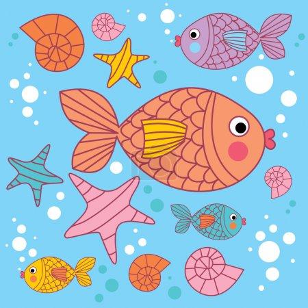 Постер, плакат: Background with cartoons fish, холст на подрамнике