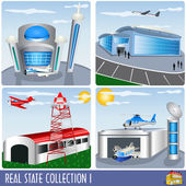 Real Estate collection 1 airport and aircraft hanger illustrations