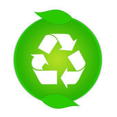 Green recycle button isolated on white background