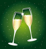 Beautiful champagne toast on a starry background
