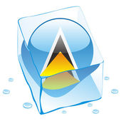 Fully editable vector illustration of saint lucia button flag frozen in ice cube
