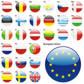 Fully editable vector illustration of all twentyseven Member States of the European Union in web button shape