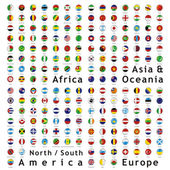 Two hundred of fully editable vector world flags web buttons with official colors and details ready to use