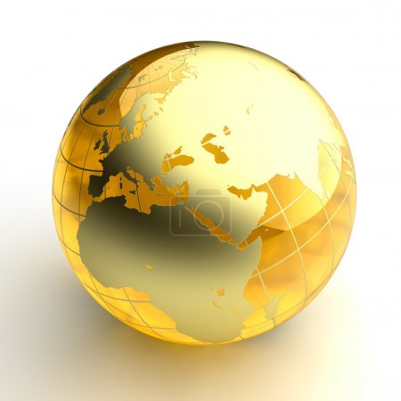 Постер, плакат: Amber globe with golden continents on white background, холст на подрамнике