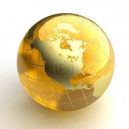 Постер, плакат: Amber globe with golden continents on white background, холст на подрамнике